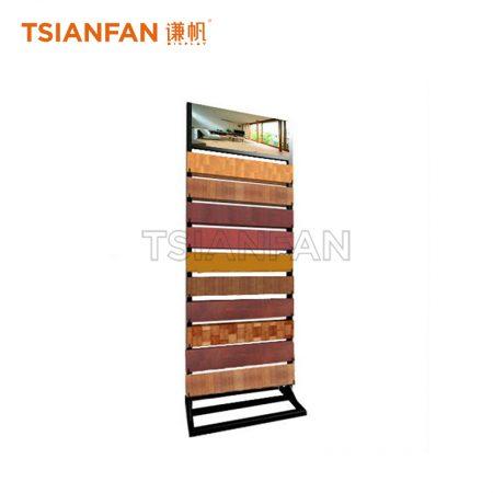 Wooden floor floor display stand black metal shelf ME002-04