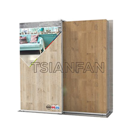 Sliding wooden floor display rack For Showrooms WC2090