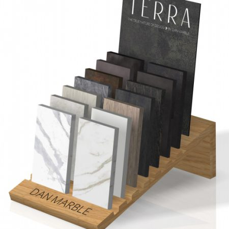 Wooden Floor Tile Simple Display Stand With Slot Laminated Wooden Shelf