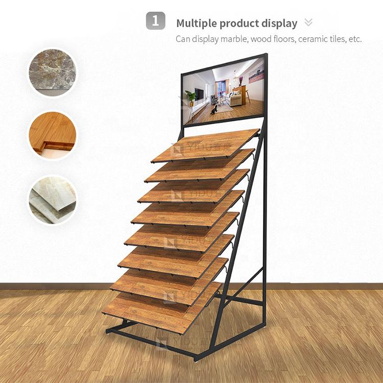Modern Custom Showroom Hardwood Floor Display Stand Tile Metal Shelf