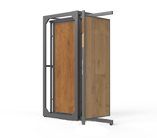 Custom Wooden Floor Flip Display Stand, Wooden Door Display Stand WC21109